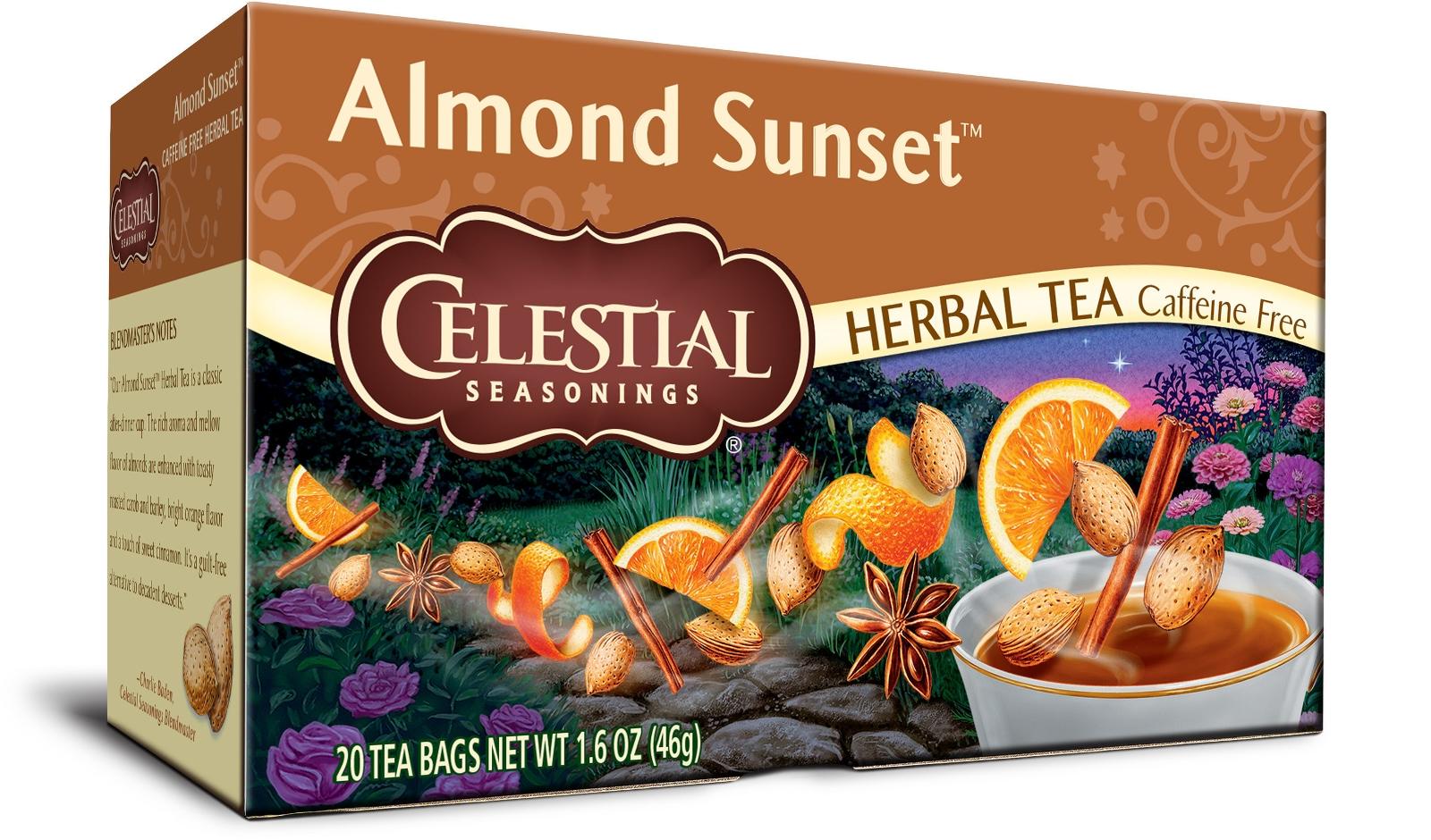 A box of Almond Sunset flavor Celestial Seasonings tea