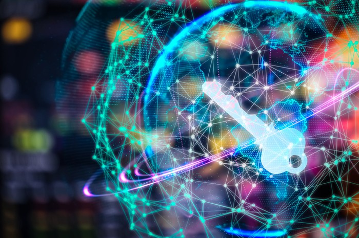 Colorful holographic globe with a key at the center, cybersecurity concept image