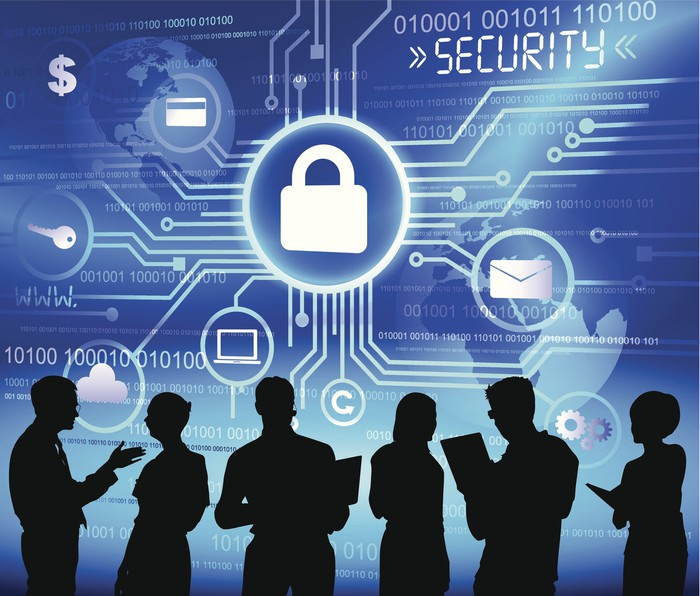 Six people silhouetted against a blue and white graphic featuring padlocks, dollar signs, computer code, and the word Security