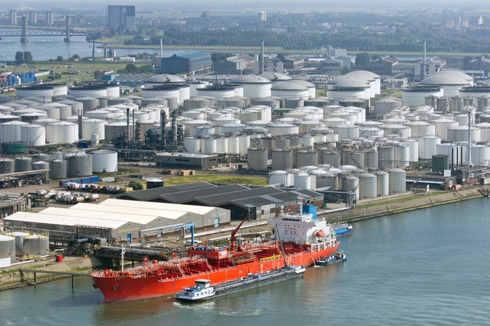 Shipping tanker at port.