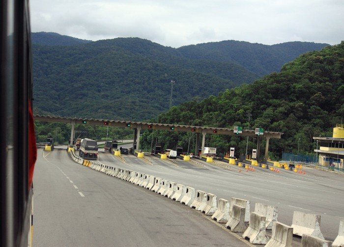 A tollgate on a toll road in Brazil.