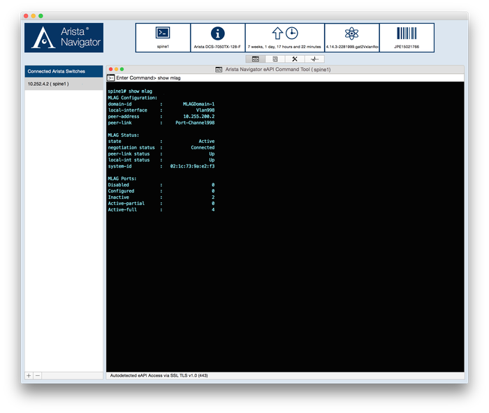 Sample screen of Arista Navigator platform.