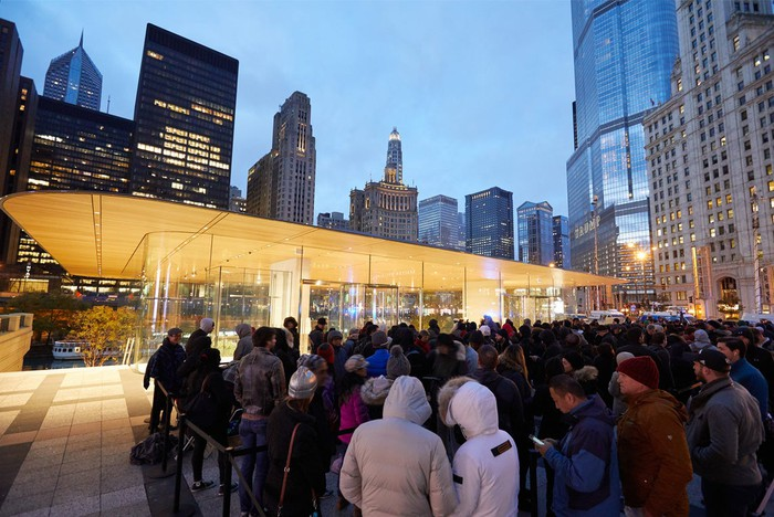Apple customers waiting in line at a Apple Store in Michigan on the iPhone X launch day