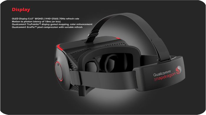 ThunderComm virtual reality headset, against a grey background with text description of display features.