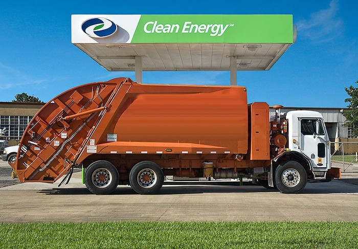Trash truck refueling at a Clean Energy Fuels station.