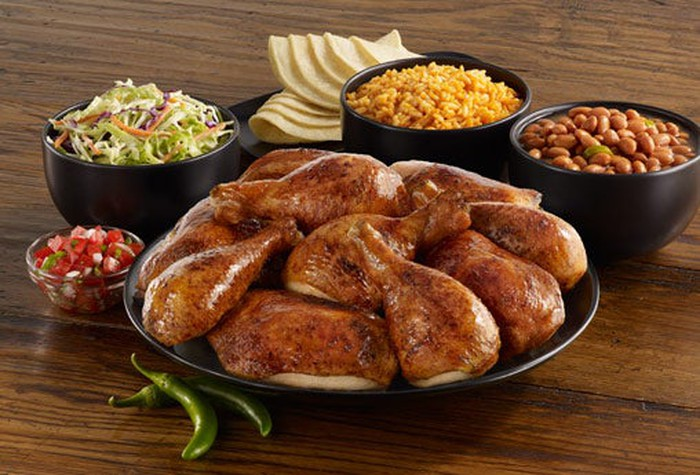 A selection of chicken and sides from El Pollo Loco