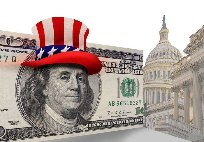 Ben Franklin in a hundred dollar bill wearing Uncle Sam's patriotic hat, next to the facade of the Capitol building.