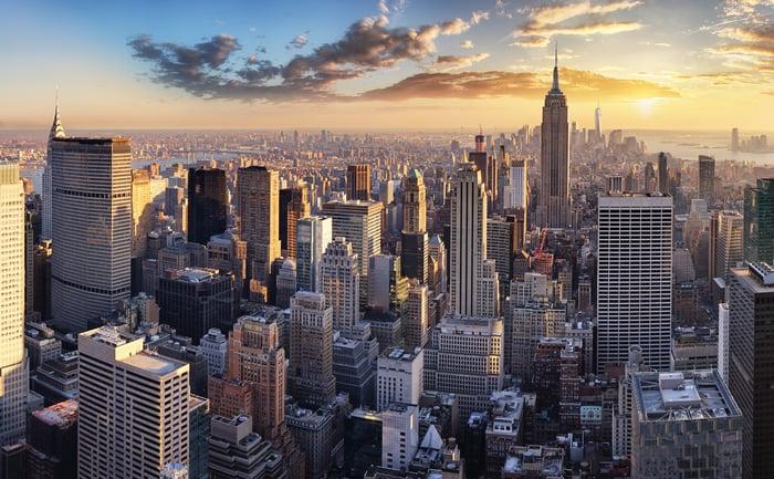 Aerial view of Manhattan New York City at sunset