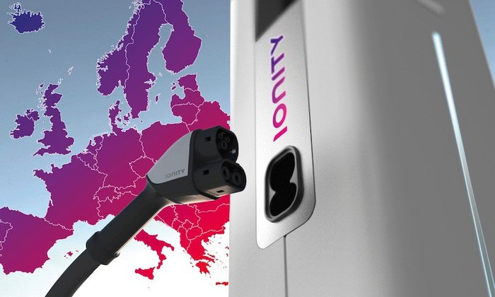 An Ionity electric-vehicle charger is shown with a map of Europe.