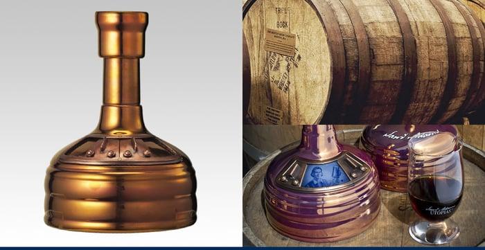 Samuel Adams Utopias bottle and oak cask