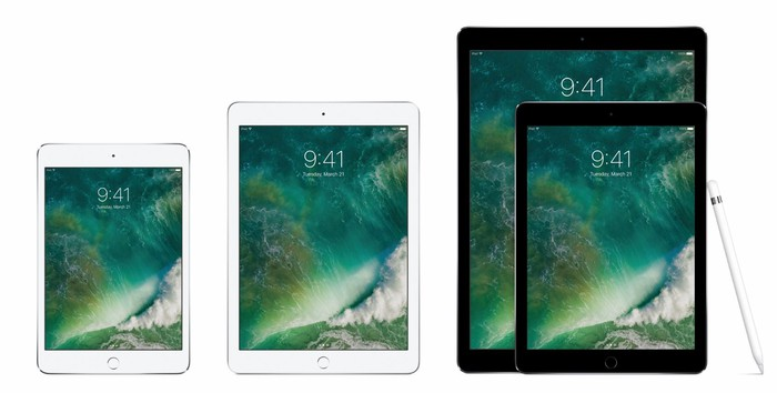 The iPad Mini 4, iPad, and iPad Pro side-by-side