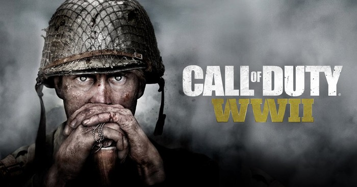 Game art for Activision's Call of Duty World War 2 video game depicting a soldier peering at the camera.