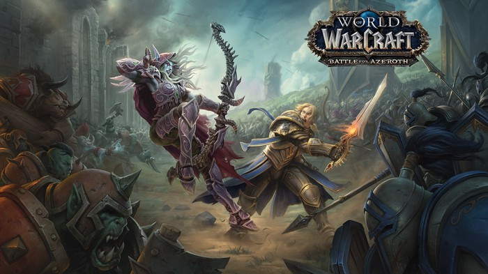 An elf archer battling a swordsman in concept art for World of Warcraft: Battle for Azeroth.