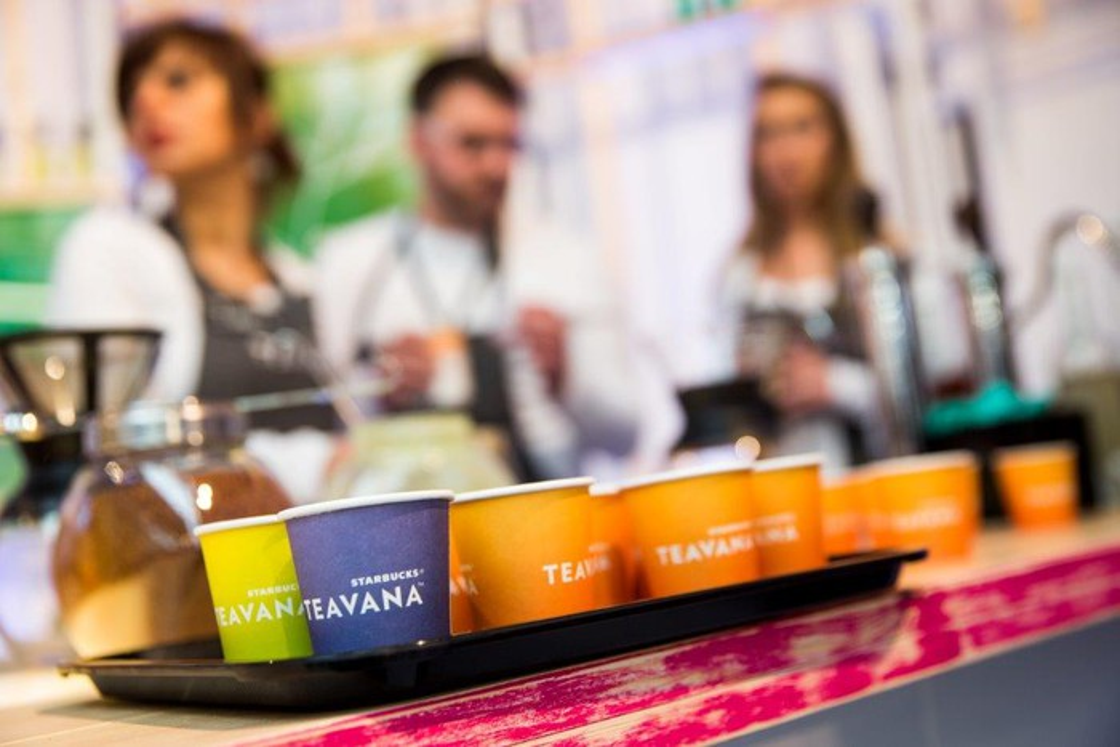 Teavana cups are shown on a tray