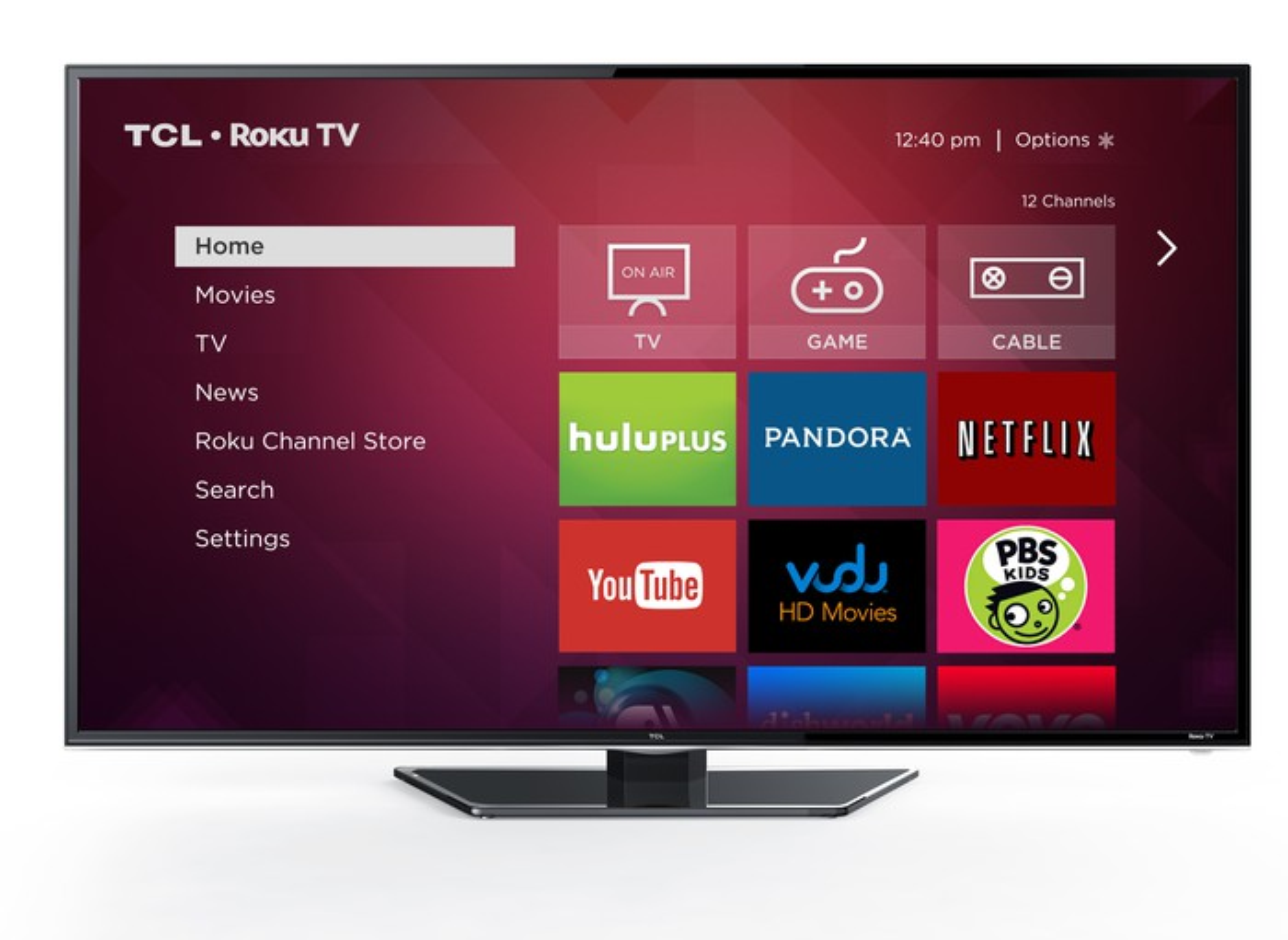 A TCL Roku TV running the Roku app.