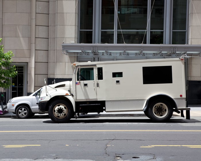 A white armored truck parked in front of a large building on a city street.