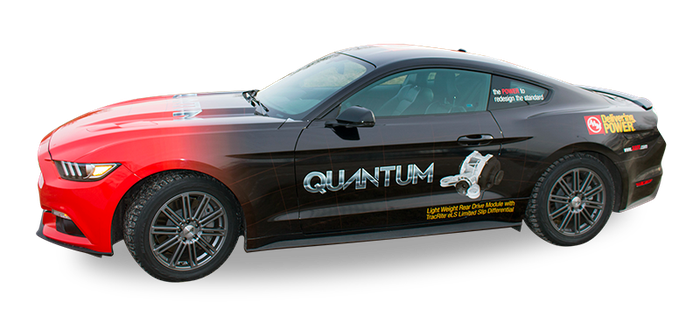 A Parked Ford Mustang with American Axle products and brand images