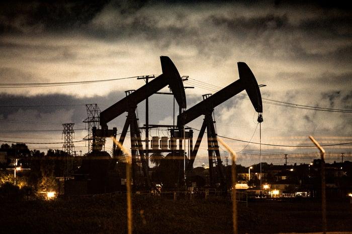 Oil pumps at night.