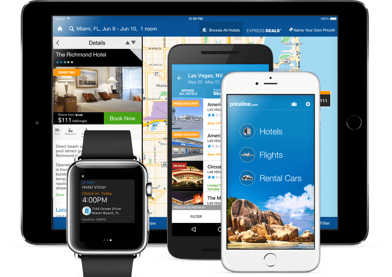 The Priceline app running on a tablet, two phones, and a smartwatch.