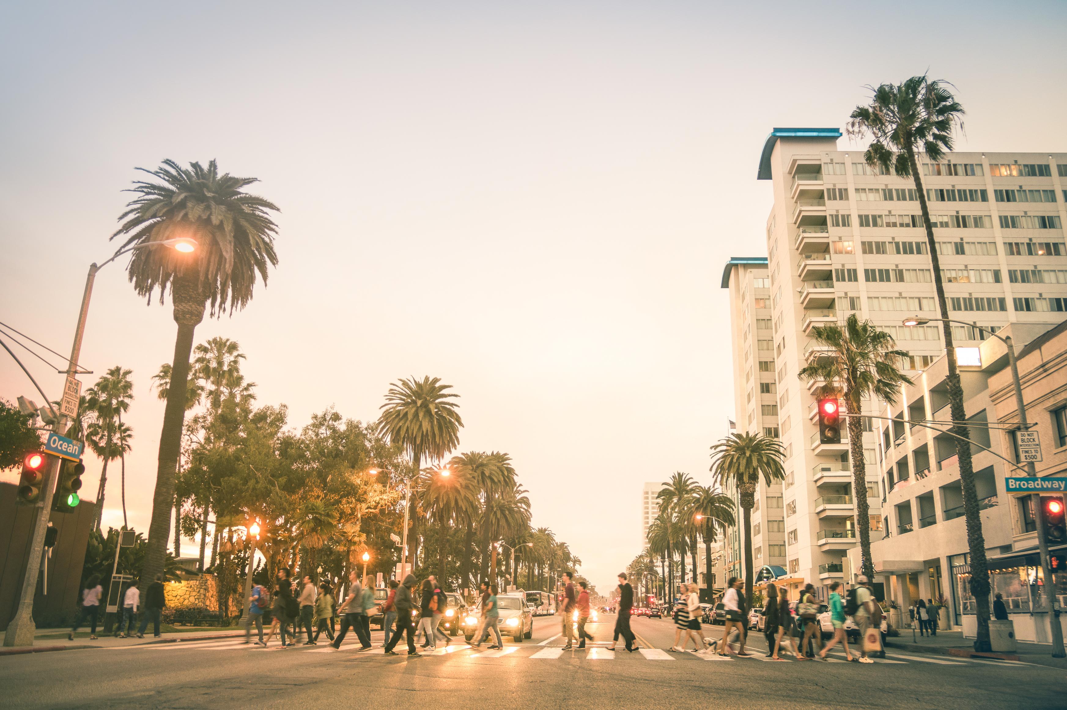 A busy crosswalk in Santa Monica, California.