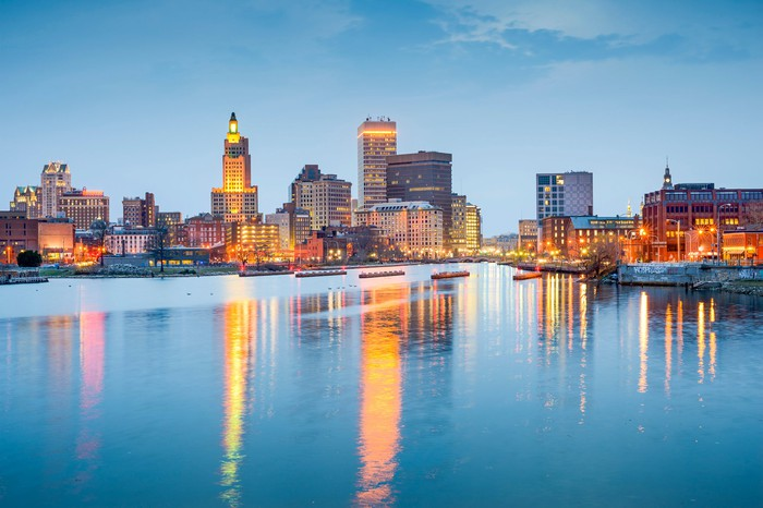 Providence, Rhode Island downtown as seen from across a body of water.