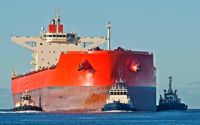 Big red cargo ship