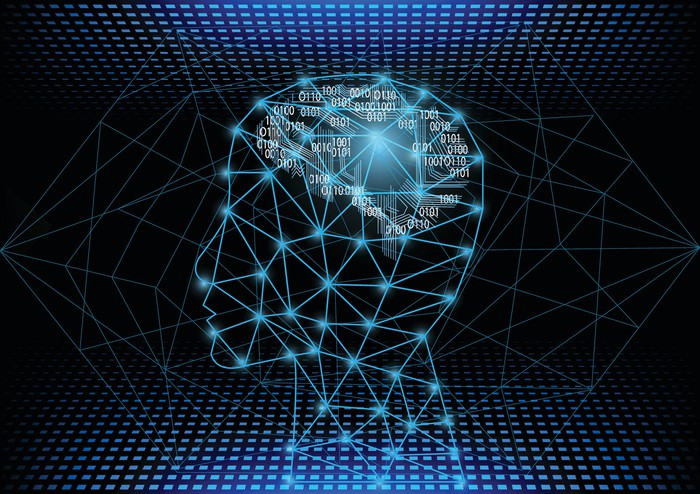 Outline of a person's head with series of 0s and 1s inside the brain area. Concept for artificial intelligence, as the binary system on computers uses combinations of 0s and 1s.