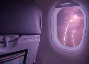 Lightning viewed from inside a plane