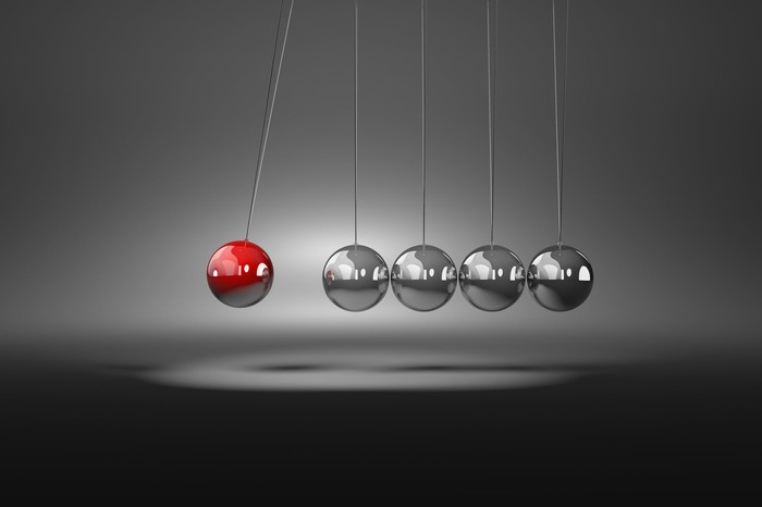 Clicking silver metallic balls in motion, with a red ball on the left.