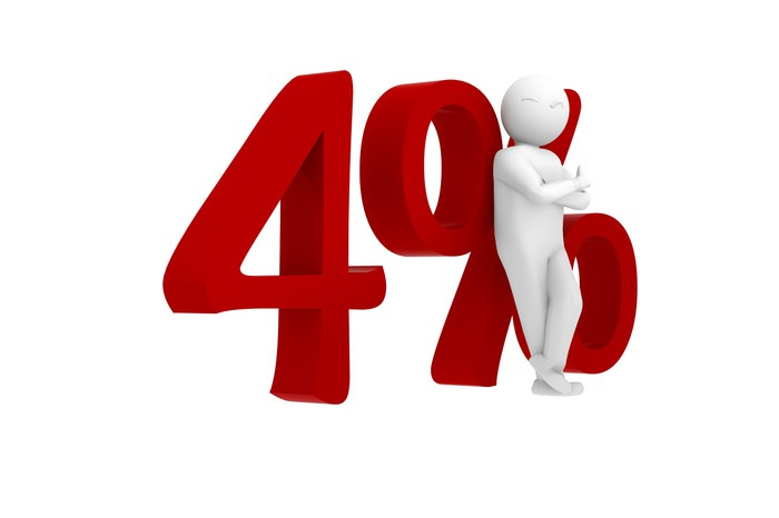 illustration of the number 4 percent with a faceless figure leaning against it