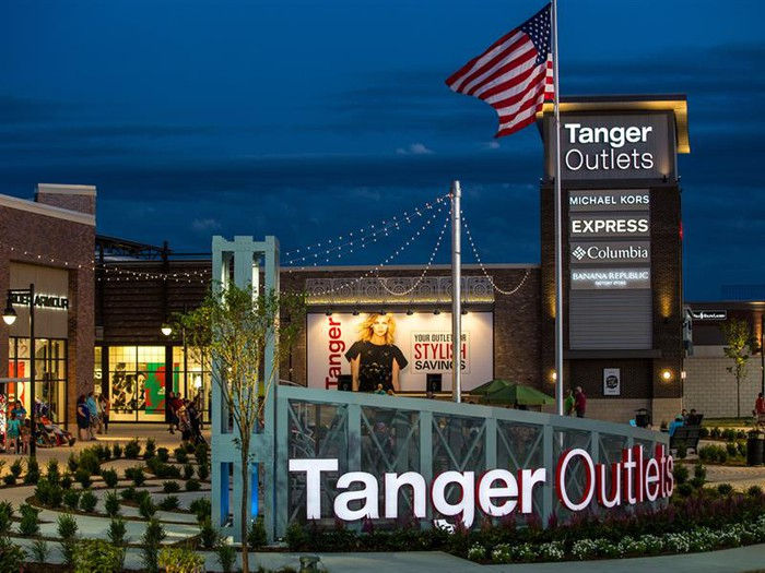 A Tanger Outlet mall in Grand Rapids, Michigan, at night