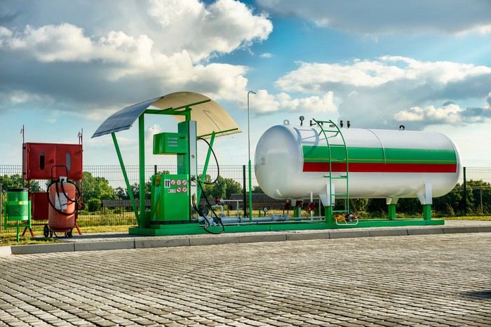 A natural gas refueling station.