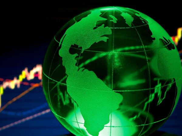 Globe with stock chart