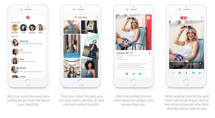 Screenshots of Tinder Gold on a mobile phone