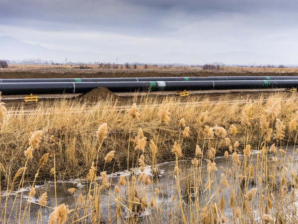 A gas pipeline under construction.