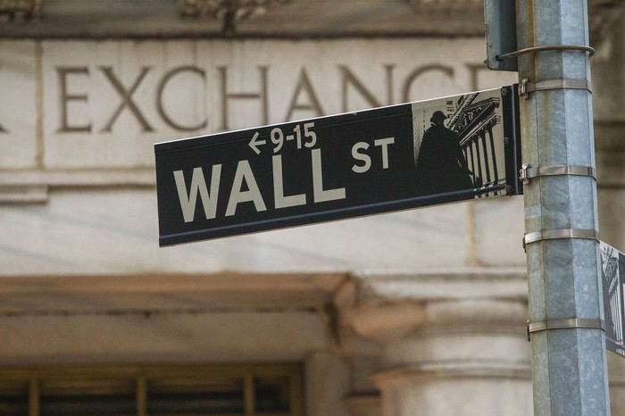 Wall Street road sign with a stock exchange sign on a stone building in the background.