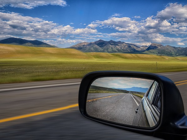 Look back rearview sideview mirror car hindsight