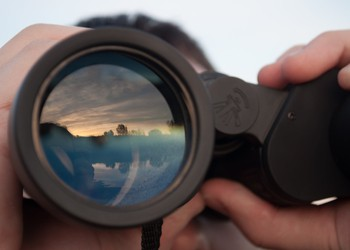 Man Looking Through Binoculars Investing Getty