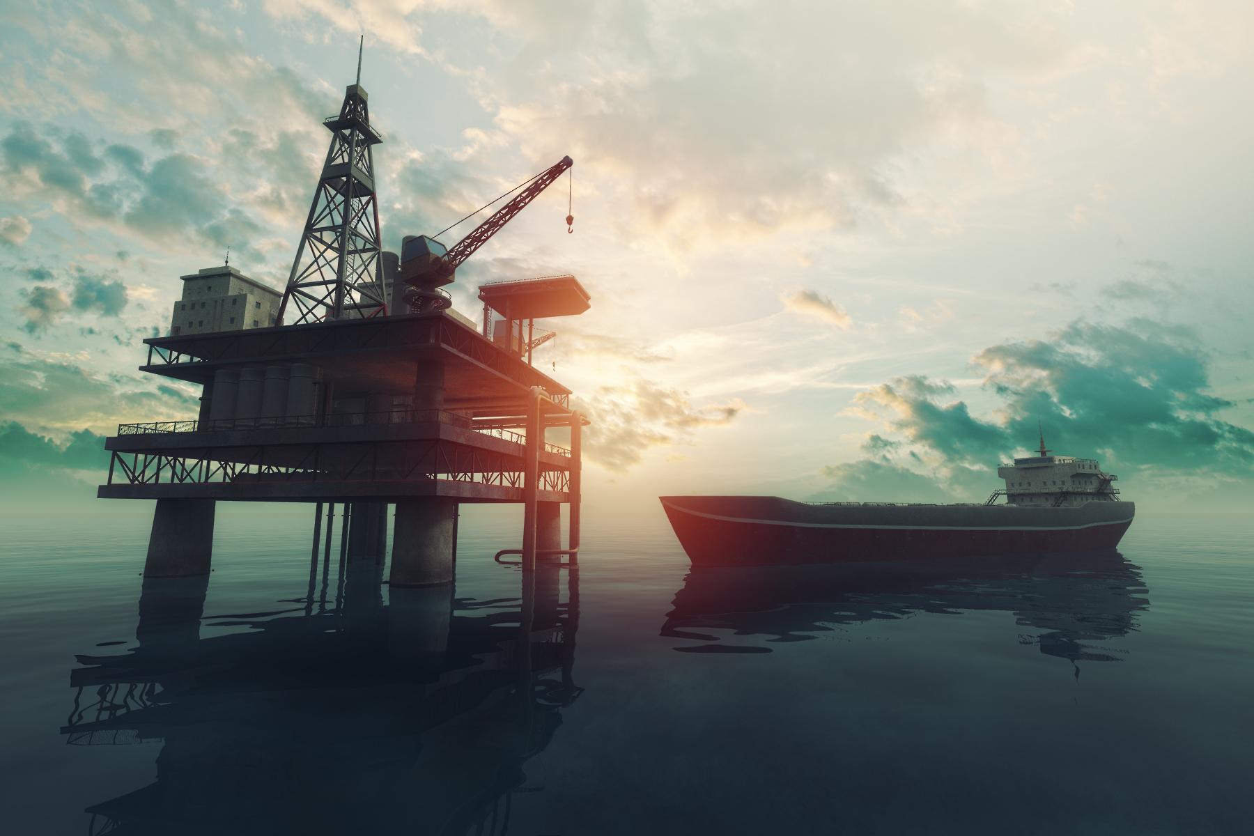 Oil tanker near offshore drilling rig