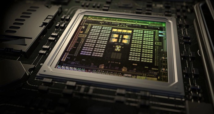 Close-up picture of a Tegra X1 chip, sans the topside casing.