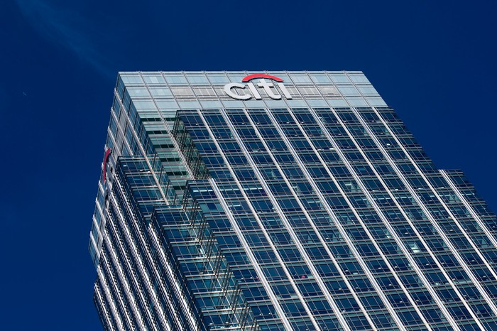 A building with Citigroup's logo on top.