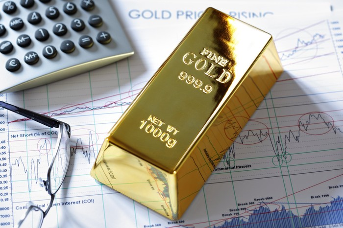 A gold bar lies on a financial chart next to a pair of glasses and a calculator.