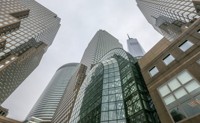 A group of office buildings in New York City.