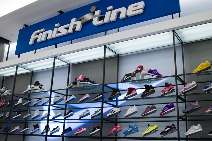 A Finish Line display inside a Macy's store.