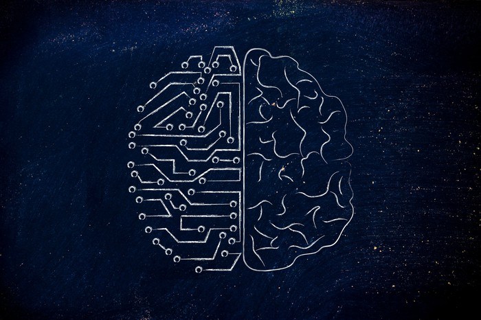 Graphic of a brain with one side being a circuit board.
