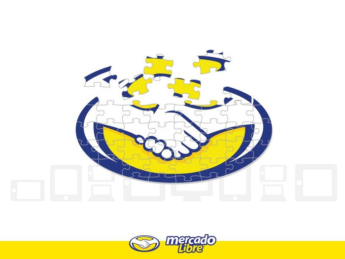 MercadoLibre logo, made out of puzzle pieces, showing two shaking hands over a yellow background.
