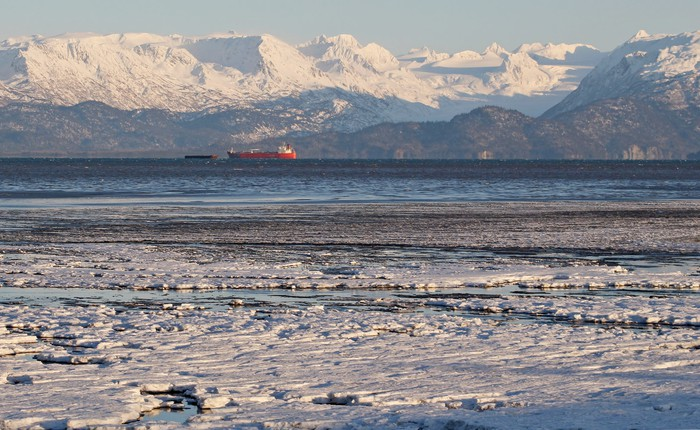 An oil tanker in the icy waters off Alaska.