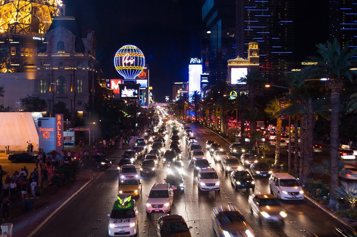 Traffic on the Las Vegas strip at night.
