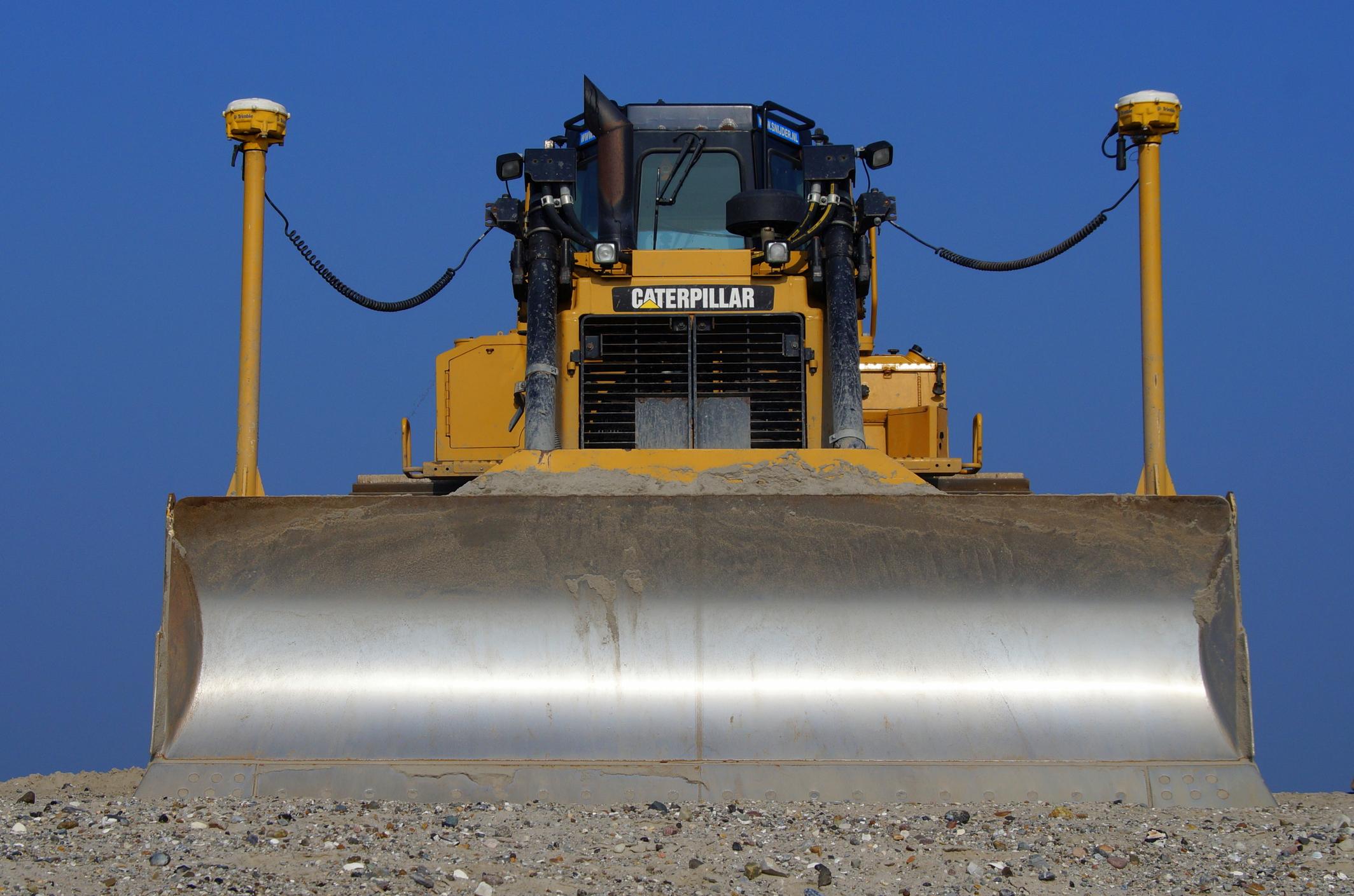a front view of a Caterpillar bulldozer