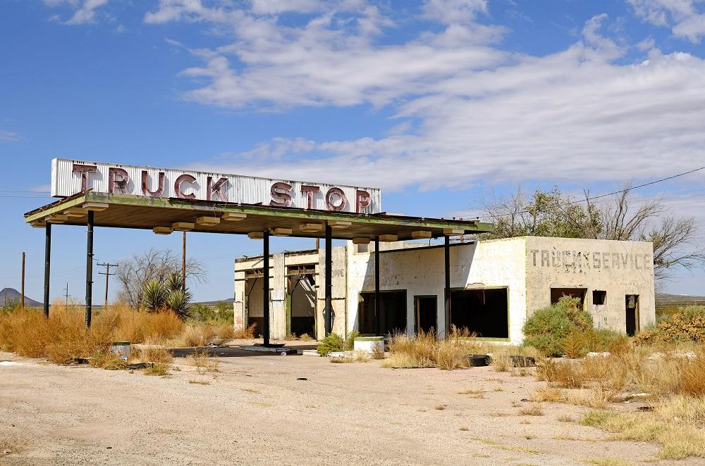 An abandoned, rundown truck stop.